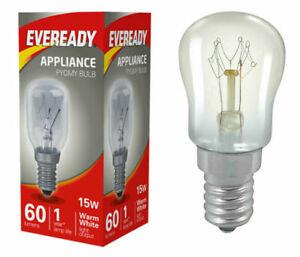 2 X FRIDGE BULB FREEZER COOKER APPLIANCE LAMP 15W E14 EVEREADY SCREW CAP FITTING