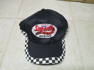 Exxon Superflo Racing Trucker Baseball Hat Cap Checkered Flag Strapback Black