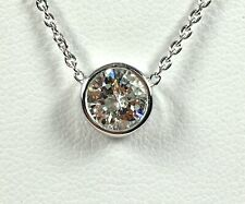 1.25 ct NATURAL DIAMOND solitaire pendant 18k white GOLD 18 inch  necklace