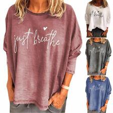 Women's Letter Print Blouse Summer T-Shirt Long Sleeve Boho Comfy Pullover Tops