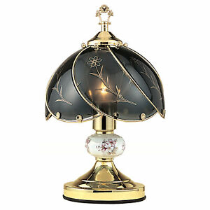 """14.25"""" Tall Metal Touch Table Lamp, Brushed Gold finish, Floral-Patterned Gla..."""