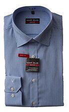 MARVELiS Hemd Blau Weiß kariert Body Fit 100% Baumwolle Bügelleicht 1/1 NEU