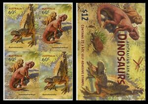 2013 Australia's Age of Dinosaurs - Block of 4 Stamps from $12.00 Booklet Lot 1