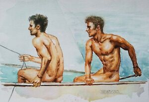 Watercolor Painting  male nude artwork-  Prepare for the game