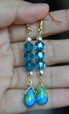 Handmade Sapphire Blue Square Glass Bead Lamp Work Teardrop Drop Dangle Earring