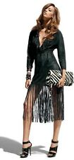 BNWT Jimmy Choo for H&M Black Suede Fringed Dress Size US8 UK12