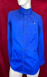 BNWT VIVIENNE WESTWOOD Blue Long Sleeve Double Button Collar Shirt. Size 50