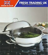 Linkfair 3 Piece Stainless Steel 32cm Wok with Steamer Insert and Lid