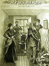 BRIDE DRESSING in ROOM to go UNDER NIAGARA FALLS NY 1879 Antique Print Matted