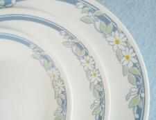 "Corelle JASMINE 8 1/2"" LUNCH Plate WHITE Floral Blossoms Motif & BLUE Bands *NEW"