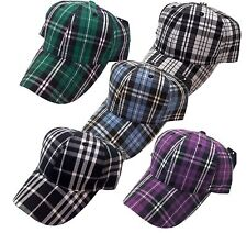 WHOLE SALE LOT 12 PCS Baseball Cap Plaid Check Pattern Plain Hat Cap - 4 Colors