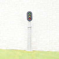 2 x OO / HO gauge model train block signal railway 3 aspect LED Light Silver #S3