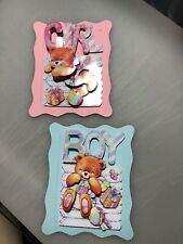 2 x Decoupage Pictures of Baby Boy  & Girl Nappy Stack Theme Toppers