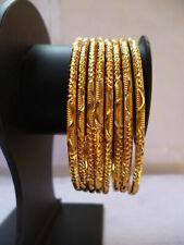 "22K Indian 8 Pcs Gold Plated Bangles Bracelet designer Chur Churi all set 2.8"",,"