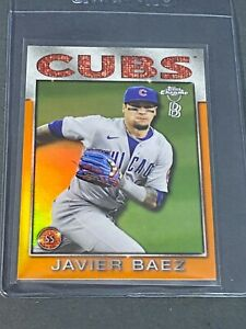 2021 Topps Chrome Ben Baller Javier Baez 86 Topps Orange Refractor #20/25 CUBS