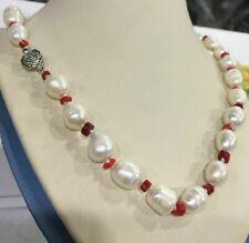 fd7362ebea80 Collar Perlas Barroco 10-11mm Di Agua Dulce y Bolas Coral Rosso-Cm 54