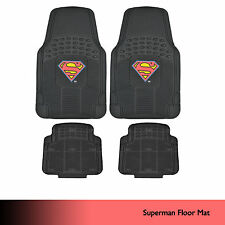 Original Superman Rubber Floor Mats for Car SUV Truck 4 PC Trimmable Heavy Duty