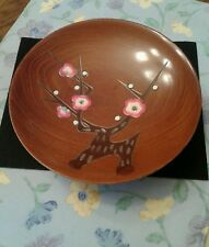 VINTAGE JAPANESE WOODEN BOWL WITH HANDPAINTED FLOWERS