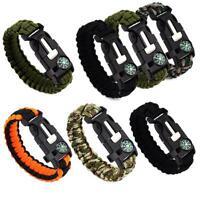 Paracord Survival Bracelet Compass/Flint/Fire Starter/Whistle Gear Kit Super