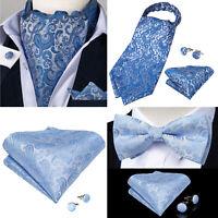 Mens Silk Blue Paisley Ascot Cravat Bow Tie Woven Pocket Square Cufflinks Set