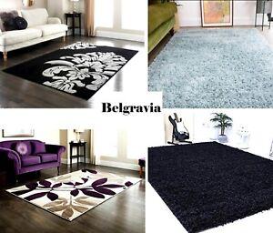 Belgravia Fluffy Shaggy Non Slip Thick Carpet Living Room Hallway Runer Rugs