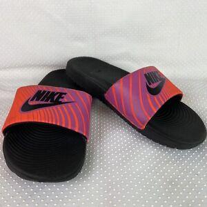 Nike Girls Slides Sandals 4 Youth Neon Orange & Purple Casual Slip On
