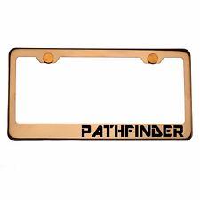 Rose Gold License Plate Frame PATHFINDER Laser Engraved Aluminum Screw Cap