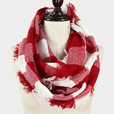 Kansas City Chiefs Themed Red/White  Buffalo Check Infinity Scarf with Fringe
