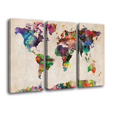 FRAMED Canvas Prints Home Decor Colorful World Map Wall Art Canvas Painting-3pcs