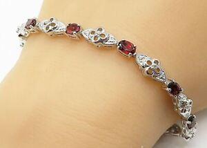 925 Silver - Prong Set Garnet & Genuine Diamonds Flower Chain Bracelet - B4442
