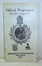 1911 Dominion Exposition program, Regina, Saskatchewan, Canada, fair, history