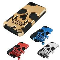 Skull 2 in1 case for iPhone 5 6 6s 6plus 7 7 plus Metal Hard Gothic Hybrid Cover
