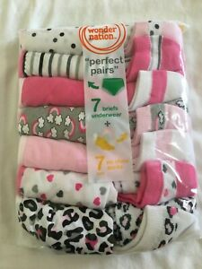 NWT Wonder Nation Girls Briefs Panties Underwear & Socks 7+7pairs/pack Rainbow
