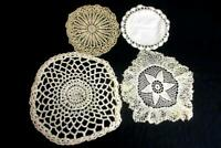 Lot of 3 Vintage Hand Crocheted Doilies Circular Shape Small Medium White Beige