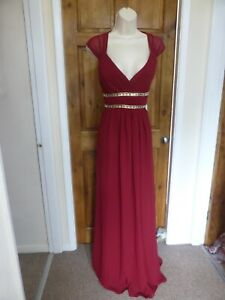 Pretty dark red beaded detail chiffon evening dress from Babyonline size 16