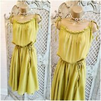 MONSOON  UK 14 Pistachio Green Silk Chiffon Beaded & Tie Fit & Flare Dress