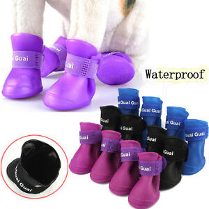 Set Soft Waterproof Dog Boots Rubber Pet Rain Shoes Booties Free Shipping G3