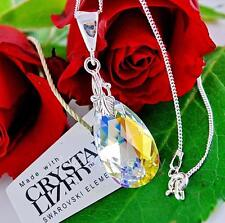 925 Silver Chain Necklace PEAR/ALMOND Crystal AB Crystals From Swarovski®