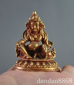 old tibet buddhism pure bronze gilt 24K gold Yellow Jambhala wealth god statue
