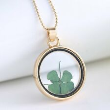 Natural Real Dried Clover Flower Shining Resin Locket Pendant Necklace Jewelry