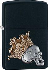Zippo 2016 Catalog NEW Crowned Skull Black Matte Emblem Attached Lighter 29100