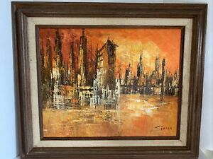 Vintage Mid Century Modern Abstract Cityscape Oil On Canvas By Simon