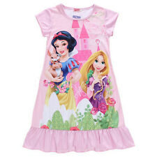 Kids Girls Nightwear Disney Princess Cartoon Dress Nightgown Sleepwear Nightie