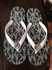 New Michael Kors Jet Set Rubber Flip Flop Signature Navy Blue White Sandal 8