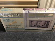 """Tan Vintage Marvin Portable Metal Twin 8"""" Window Fan, Model 282 In Original Box"""