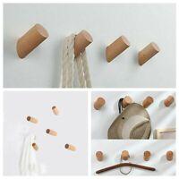 5Pc Home Coat Hanger Natural Wooden Solid Oak Peg Hallway Wall Mounted Door Hook