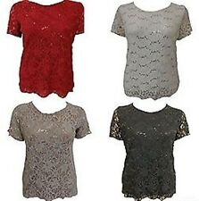 WOMENS PLUS SIZE LACE SEQUINS LINED TUNIC TOP MINI EVENING PARTY DRESS 12-26