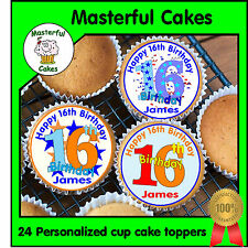 24 PERSONALISED 16th BIRTHDAY DESIGN 2 EDIBLE RICE PAPER CUP CAKE TOPPERS