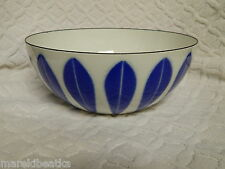 "MID CENTURY  CATHERINE HOLM  NORWAY BLUE LOTUS ENAMELED 8"" BOWL #1"