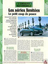 Série Limitée Cabriolet 205/206 Peugeot Roland Garros/ 2CV Car Auto FICHE FRANCE